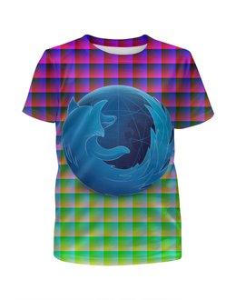 """Футболка с полной запечаткой для девочек """"BLUE FIREFOX"""" - арт, дизайн, графика, фэн-арт, mozilla firefox"""