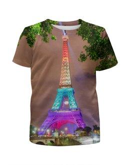 """Футболка с полной запечаткой для девочек """"Париж"""" - арт, страны, города, франция, париж"""