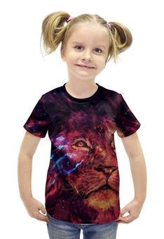 """Футболка с полной запечаткой для девочек """"Царь зверей"""" - лев, leon, царь зверей"""