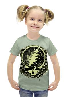"""Футболка с полной запечаткой для девочек """"Skull Art"""" - skull, череп, космос, молния, арт дизайн"""