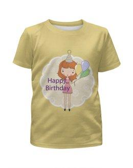 """Футболка с полной запечаткой для девочек """"День рождения"""" - день рождения, happy birthday"""