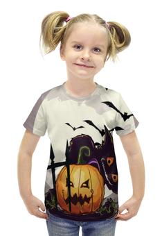 """Футболка с полной запечаткой для девочек """"Хеллоуин / Halloween"""" - праздник, рисунок, тыква, хеллоуин"""