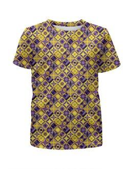 """Футболка с полной запечаткой для девочек """"Желто-фиолетовый геометрический орнамент"""" - фиолетовый, квадрат, геометрия, ромб"""