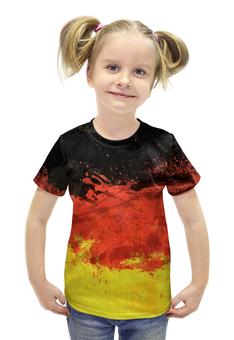 """Футболка с полной запечаткой для девочек """"Флаг Германии"""" - флаг, 3d, германия"""