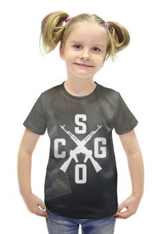 """Футболка с полной запечаткой для девочек """"CS:GO"""" - cs, автомат, counter-strike"""