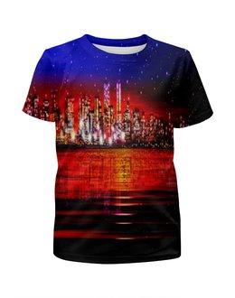 """Футболка с полной запечаткой для девочек """"Ночной город"""" - город, краски, вода, здания, мегаполис"""