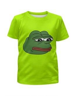 """Футболка с полной запечаткой для девочек """"Грустная лягушка"""" - мем, meme, грустная лягушка, sad frog, pepe frog"""