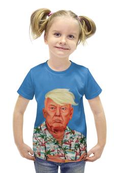 """Футболка с полной запечаткой для девочек """"Дональд Трамп"""" - usa, russian, дональд трамп, donald john trump"""