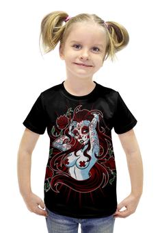 """Футболка с полной запечаткой для девочек """"Sugar skull girl"""" - skull, череп, девушка, girl, sugar skull"""