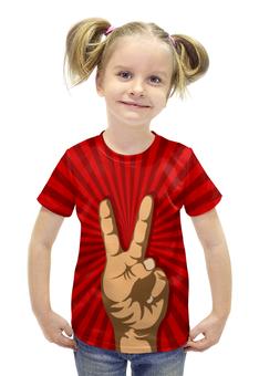 """Футболка с полной запечаткой для девочек """"Всё Peace DATA"""" - прикол, рука, окей, ok, жест"""