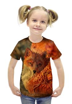 """Футболка с полной запечаткой для девочек """"Крылатый лис"""" - авторские майки, лиса, лисица, животное"""