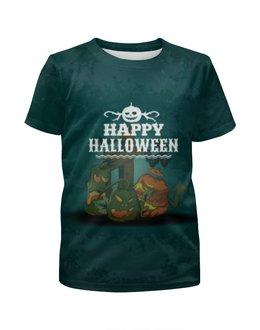 """Футболка с полной запечаткой для девочек """"HALLOWEEN PARTY"""" - хэллоуин, halloween party"""