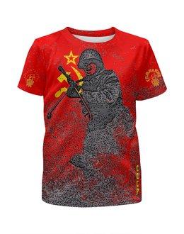 """Футболка с полной запечаткой для девочек """"За Родину!"""" - война, воин, отечественная война, знамя победы, за сталина"""