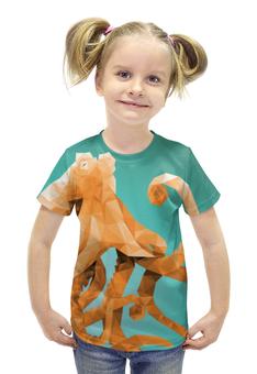"""Футболка с полной запечаткой для девочек """"Octopus"""" - животные, море, осьминог, lowpoly"""