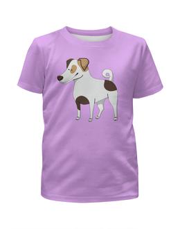 """Футболка с полной запечаткой для девочек """"ДЖЕК РАССЕЛ.СОБАКА"""" - майкл джексон, щенок, собака, животное, рассел"""