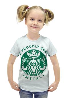 """Футболка с полной запечаткой для девочек """"Starbucks / Forever Metal"""" - heavy metal, кофе, coffee, starbucks, старбакс"""