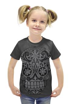 """Футболка с полной запечаткой для девочек """"Калавера"""" - skull, череп, день мёртвых, калавера"""