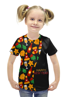 """Футболка с полной запечаткой для девочек """"Happy New Year"""" - подарок, рождество, елка, merry christmas, 2017"""