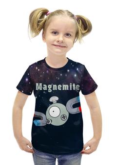 """Футболка с полной запечаткой для девочек """"Покемон Магнемайт"""" - pokemon, покемон, магнит, магнемайт, magnemite"""