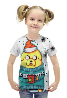 """Футболка с полной запечаткой для девочек """"Christmas Time"""" - арт, adventure time, время приключений, джейк, jake the dog"""