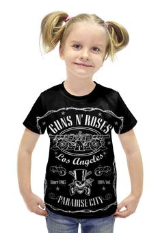 """Футболка с полной запечаткой для девочек """"Guns n' roses"""" - heavy metal, glam, guns n roses, хэви метал, guns n' roses"""