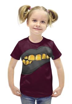 """Футболка с полной запечаткой для девочек """"Золотая ухмылка"""" - арт, золото, улыбка, рот, зубы"""