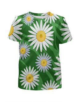 """Футболка с полной запечаткой для девочек """"Ромашки"""" - цветы, весна, зеленый, природа, ромашки"""
