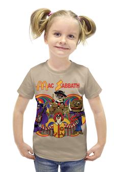 """Футболка с полной запечаткой для девочек """"Mac Sabbath/Black Sabbath"""" - прикол, heavy metal, макдональдс, mcdonalds, black sabbath"""