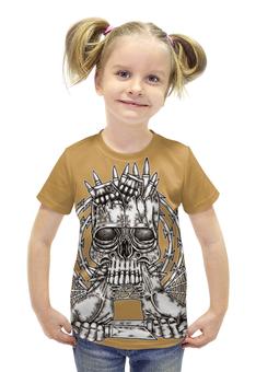 """Футболка с полной запечаткой для девочек """"Skull Art"""" - skull, череп, ножи, колючая проволока, гранаты"""