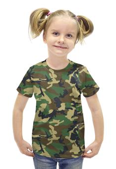 """Футболка с полной запечаткой для девочек """"Камуфляж (Лес)"""" - армия, лес, камуфляж, camo, маскировка"""