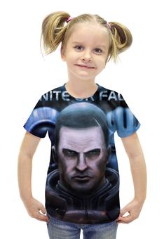 """Футболка с полной запечаткой для девочек """"Масс Эффект (Mass Effect)"""" - me, mass effect, масс эффект"""