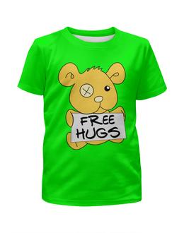 """Футболка с полной запечаткой для девочек """"Бесплатные объятья"""" - медведь, мишка, бесплатные объятья, обнимашки, free hugs"""