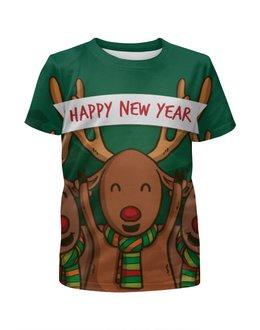 """Футболка с полной запечаткой для девочек """"Happy New Year 2016!"""" - праздник, дизайн, с новым годом, ручная работа, денис гесс"""