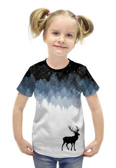 """Футболка с полной запечаткой для девочек """"Зимняя ночь"""" - олень, рога, зимняя ночь, олень в лесу"""