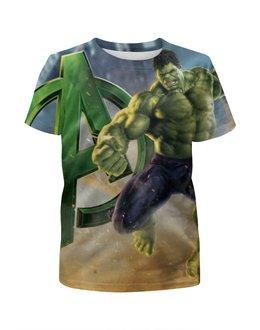 """Футболка с полной запечаткой для девочек """"Без названия"""" - hulk, мстители, халк"""