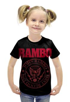 """Футболка с полной запечаткой для девочек """"Rambo"""" - боевик, рэмбо, сильвестр сталлоне, rambo, sylvester stallone"""