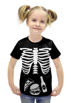 "Футболка с полной запечаткой для девочек ""What do we eat?"" - еда, skeleton, скелет, рёбра, ribs"
