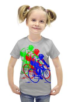 """Футболка с полной запечаткой для девочек """"Велосипедисты"""" - спорт"""