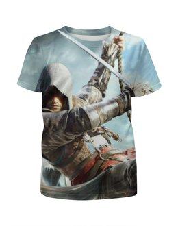 """Футболка с полной запечаткой для девочек """"Кредо ассасина (Assassin's Creed)"""" - assassins creed, black flag, кредо ассасина"""