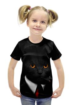 """Футболка с полной запечаткой для девочек """"Агент Кот"""" - животные, коты, секретный агент"""