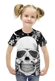 """Футболка с полной запечаткой для девочек """"ЧЕРЕП"""" - череп, кости"""