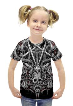"""Футболка с полной запечаткой для девочек """"Череп с драконами"""" - череп, драконы, метал"""