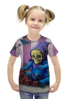 """Футболка с полной запечаткой для девочек """"Art Horror"""" - skull, череп, кот, cat, кубики"""