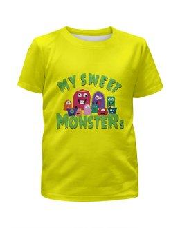 """Футболка с полной запечаткой для девочек """"Пушистые монстры"""" - хэллоуин, монстр, дракон, комиксы, зубы"""