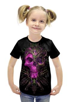 """Футболка с полной запечаткой для девочек """"Skull Art"""" - skull, череп, artwork, фентази, арт дизайн"""