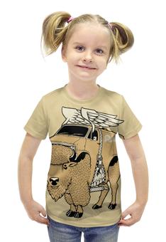 """Футболка с полной запечаткой для девочек """"YAK BULL / Бык Як """" - череп, крылья, кости, машина, бык"""