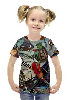 """Футболка с полной запечаткой для девочек """"Алиса в стране чудес"""" - алиса, улитка, сказка, черепаха, алиса в стране чудес"""