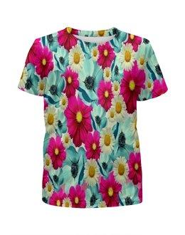 """Футболка с полной запечаткой для девочек """"Цветочный сад"""" - цветы, весна, сад, цветные, цветочки"""