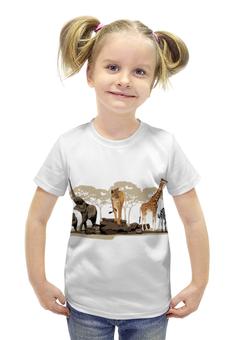 """Футболка с полной запечаткой для девочек """"Сафари"""" - пустыня, слоны, жирафы"""