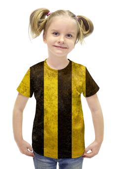 """Футболка с полной запечаткой для девочек """"Полосы 2"""" - чёрный, жёлтый, полосы"""